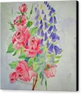 Roses And Digitalis Canvas Print