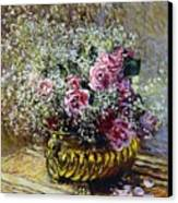 Roses In A Copper Vase Canvas Print by Claude Monet
