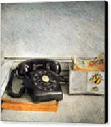 Rotary Dial Phone In Black S And H Stamps Canvas Print