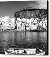 Rowboat Along An Idyllic Sicilian Village. Canvas Print