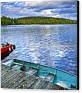 Rowboats On Lake At Dusk Canvas Print by Elena Elisseeva