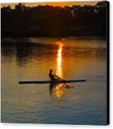 Rowing At Sunset 2 Canvas Print by Bill Cannon