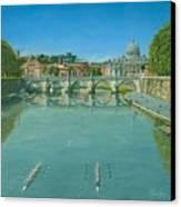 Rowing On The Tiber Rome Canvas Print by Richard Harpum
