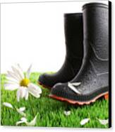 Rubber Boots With Daisy In Grass Canvas Print by Sandra Cunningham