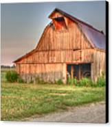 Ruddish Barn At Dawn Canvas Print by Douglas Barnett