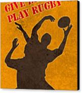 Rugby Player Jumping Catching Ball In Lineout Canvas Print