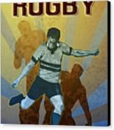 Rugby Player Kicking The Ball Canvas Print by Aloysius Patrimonio