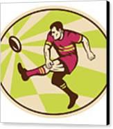 Rugby Player Kicking The Ball Retro Canvas Print by Aloysius Patrimonio