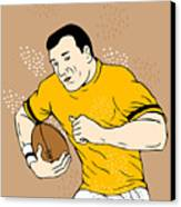 Rugby Player Runningwith The Ball Canvas Print by Aloysius Patrimonio