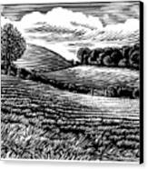 Rural Landscape, Woodcut Canvas Print by Gary Hincks