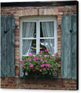 Rustic Window And Red Bricks Wall Canvas Print by Yair Karelic