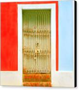 Rusty Iron Door Canvas Print by Perry Webster
