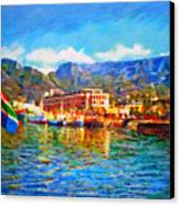 Sa Flag At The Waterfront Canvas Print by Michael Durst