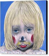 Sad Little Girl Clown Canvas Print