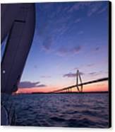 Sailboat Sailing Sunset On The Charleston Harbor  Canvas Print by Dustin K Ryan