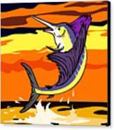 Sailfish Jumping Retro Canvas Print by Aloysius Patrimonio
