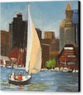 Sailing Boston Harbor Canvas Print by Laura Lee Zanghetti