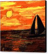 Sailing Home At Sunset Canvas Print
