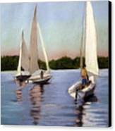 Sailing On The Charles Canvas Print by Lenore Gaudet
