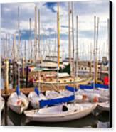 Sailoats Docked In Marina Canvas Print by David Buffington