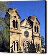 Saint Francis Cathedral Santa Fe Canvas Print by Kurt Van Wagner