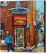 Saint Henri Street In Winter Canvas Print