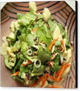 Orange Green Salad For Lunch With Pineapple Dressing Canvas Print