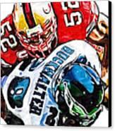 San Francisco 49ers Patrick Willis Philadelphia Eagles Correll Buckhalter  Canvas Print by Jack K