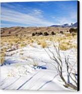 Sand And Snow Canvas Print by Mike  Dawson