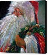 Santa Claus With Sleigh Bells And Wreath  Canvas Print