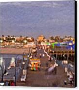 Santa Monica Pacific Park Pier Skyline Panoramic Canvas Print