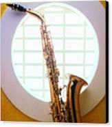 Saxophone In Round Window Canvas Print by Garry Gay