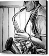 Saxophone Player Canvas Print by Laura Rispoli