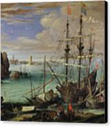 Scene Of A Sea Port Canvas Print by Paul Bril