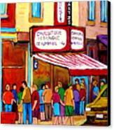 Schwartzs Hebrew Deli Montreal Streetscene Canvas Print