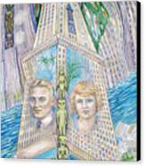 Scott And Zelda In Their New York Dream Tower Canvas Print