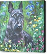 Scottish Terrier In The Garden Canvas Print