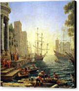 Seaport With The Embarkation Of Saint Ursula  Canvas Print