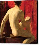 Seated Male Model Canvas Print by William Etty