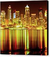 Seattle Panorama Reflection In Elliot Bay Canvas Print by Tim Rayburn