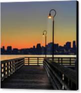 Seattle Skyline From The Alki Beach Seacrest Park Canvas Print by David Gn Photography