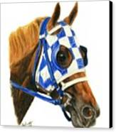 Secretariat With Blinkers Canvas Print by Pat DeLong