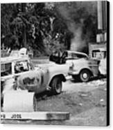 Segregationist Riot At Old Miss. Burned Canvas Print