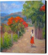 Senorita In A Red Skirt Canvas Print