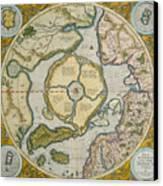 Septentrionalium Terrarum Descriptio Canvas Print by Gerardus Mercator