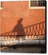 Shadow Of A Person Crossing The Shadow Of A Bridge In Venice Canvas Print