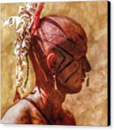Shawnee Indian Warrior Portrait Canvas Print by Randy Steele
