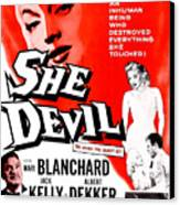 She Devil, Blonde Woman Featured Canvas Print
