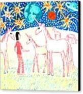 She Meets The Moon Unicorns Canvas Print by Sushila Burgess
