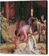 Shearing The Rams Canvas Print by Pg Reproductions